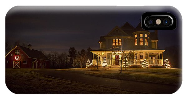 New England Barn iPhone Case - Victorian House At Christmas by Diane Diederich