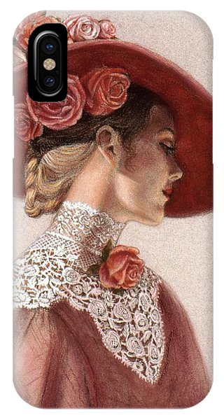 Victorian Lady In A Rose Hat IPhone Case