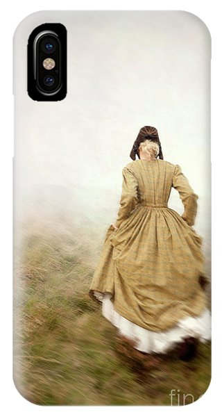 Victorian Woman Running On The Misty Moors IPhone Case