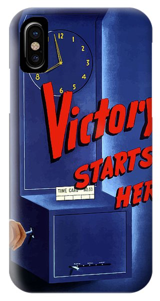 Clock iPhone Case - Victory Starts Here by War Is Hell Store