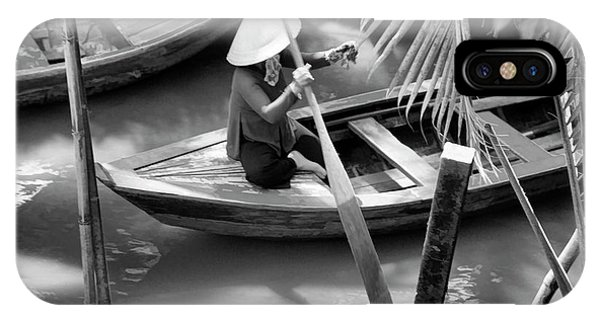 Vietnamese Woman Boat Ores Really For Tourist Mekong Delta  IPhone Case