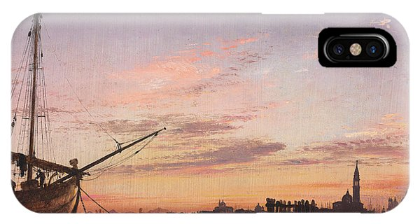 Orange Sunset iPhone Case - View Across The Lagoon, Venice, Sunset by Edward William Cooke