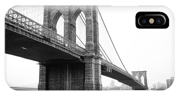 View Brooklyn Bridge With Foggy City In The Background IPhone Case