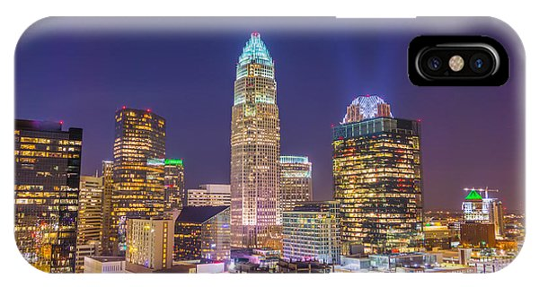 View Of Charlotte Skyline Aerial At Sunset IPhone Case