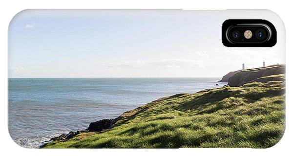 View Of Irish Sea And Green Grassy Coastal Cliffs IPhone Case