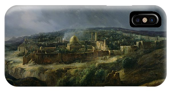 Cathedral Rock iPhone Case - View Of Jerusalem From The Valley Of Jehoshaphat by Auguste Forbin