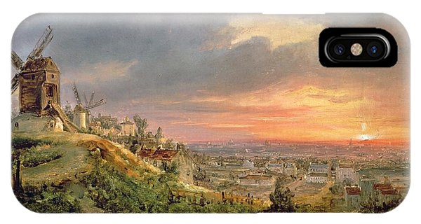 City Sunset iPhone Case - View Of The Butte Montmartre by Louis Jacques Mande Daguerre