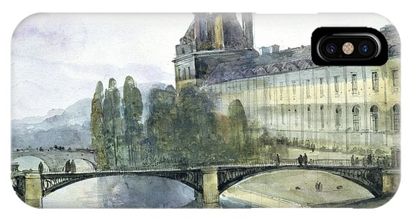 Louvre iPhone Case - View Of The Pavillon De Flore Of The Louvre by Francois-Marius Granet