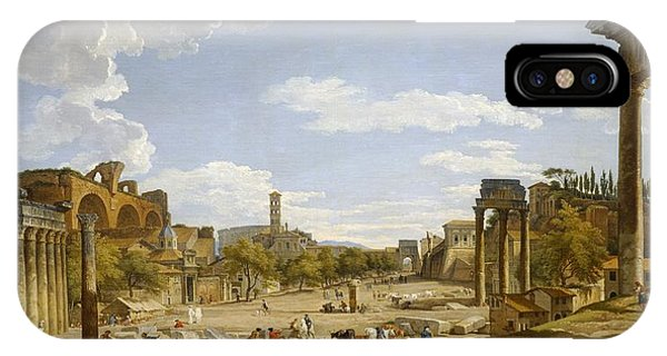 Columns iPhone Case - View Of The Roman Forum by Giovanni Paolo Panini
