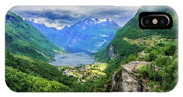 View On Geiranger From Flydalsjuvet IPhone Case