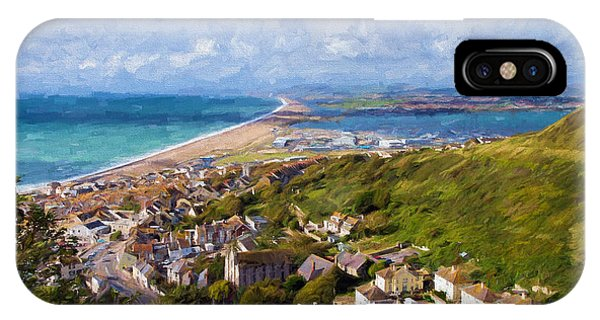 Dorset iPhone Case - View Over Portland And Chesil Beach Dorset England Uk Blue Sky And Cloud Illustration Like Painting by Michael Charles