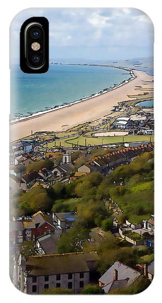 Dorset iPhone Case - View Over Portland And Chesil Beach Dorset England Uk Blue Sky And Cloud Illustration by Michael Charles