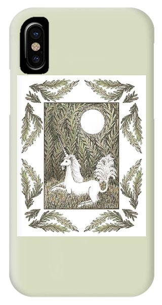 IPhone Case featuring the drawing Vigilant Unicorn by Lise Winne