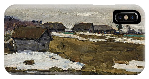 Russian Impressionism iPhone Case - Village By The Water In Winter by Valentin Serov