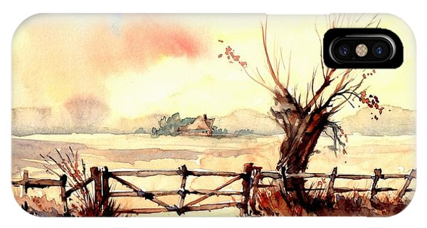 Sparrow iPhone Case - Village Scene IIi by Suzann's Art
