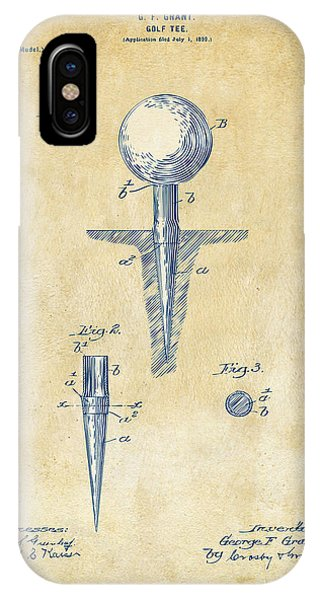 Golf Ball iPhone Case - Vintage 1899 Golf Tee Patent Artwork by Nikki Marie Smith