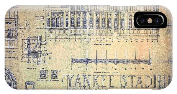 Vintage 1920s Art Deco Yankee Stadium Blueprint IPhone Case