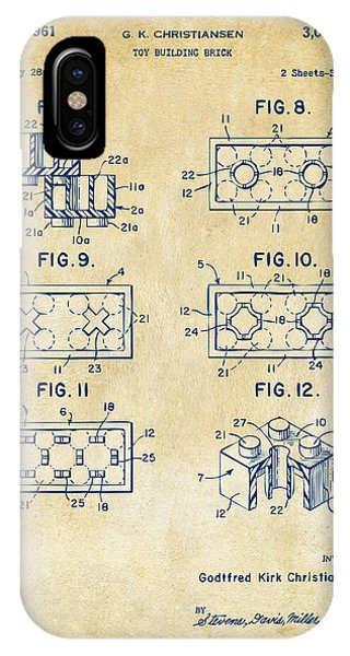 Playing iPhone Case - Vintage 1961 Lego Brick Patent Art by Nikki Marie Smith