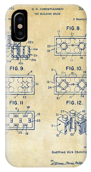 Bricks iPhone Case - Vintage 1961 Lego Brick Patent Art by Nikki Marie Smith