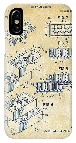 IPhone Case featuring the drawing Vintage 1961 Toy Building Brick Patent Art by Nikki Marie Smith