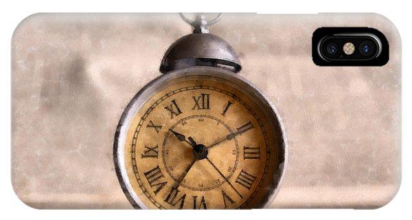 Clock iPhone Case - Vintage Alarm Clock Watercolor by Edward Fielding