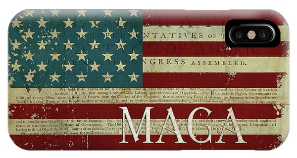 Again iPhone Case - Vintage American Flag Americana Maga Declaration Of Independence by Audrey Jeanne Roberts