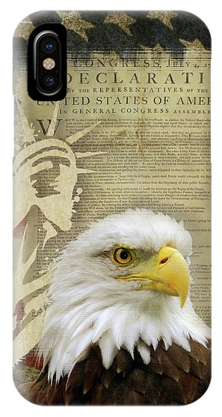 Again iPhone Case - Vintage Americana Patriotic Flag Statue Of Liberty And Bald Eagle by Audrey Jeanne Roberts