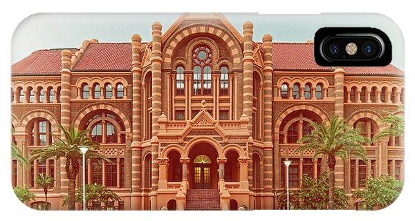 Vintage Architectural Photograph Of Ashbel Smith Old Red Building At Utmb - Downtown Galveston Texas IPhone Case