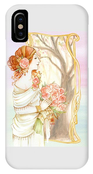 Vintage Art Nouveau Flower Lady IPhone Case