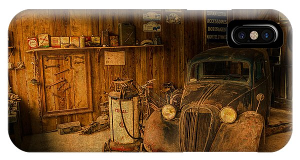 Vintage Auto Repair Garage With Truck And Signs IPhone Case