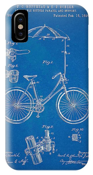 Parasol iPhone Case - Vintage Bicycle Parasol Patent Artwork 1896 by Nikki Marie Smith