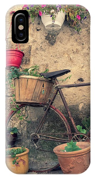 Vintage Bicycle Used As A Flower Pot, Provence IPhone Case