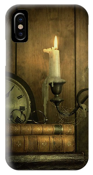 Vintage Books With Candles And An Old Clock IPhone Case
