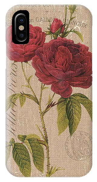 Bloom iPhone Case - Vintage Burlap Floral 3 by Debbie DeWitt