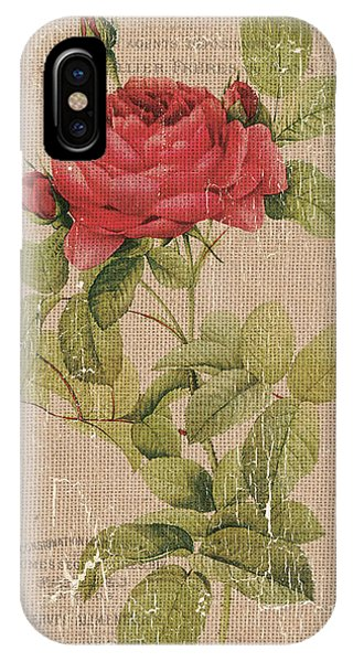Bloom iPhone Case - Vintage Burlap Floral by Debbie DeWitt
