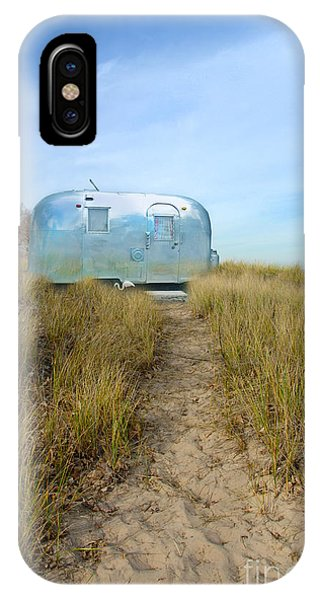 Vintage Camping Trailer Near The Sea IPhone Case