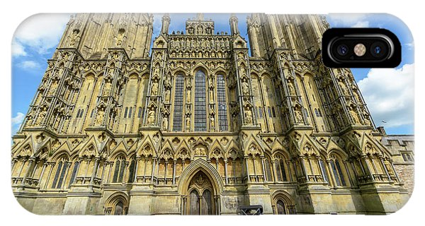 IPhone Case featuring the photograph Vintage Car Parked In Front Of Wells Cathedral by Jacek Wojnarowski