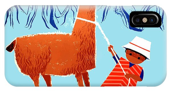 Peru iPhone Case - Vintage Child And Llama Peru Travel Poster by Retro Graphics