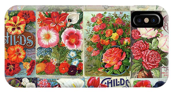Vintage Childs Nursery Flower Seed Packets Mosaic  IPhone Case