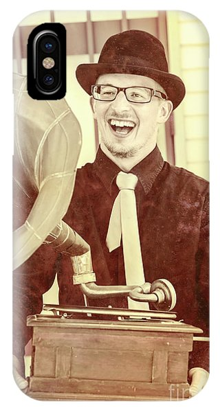 Culture Club iPhone Case - Vintage Entertainment Man Playing Golden Oldies by Jorgo Photography - Wall Art Gallery