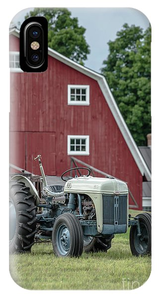 Etna iPhone Case - Vintage Ford Farm Tractor With Red Barn by Edward Fielding