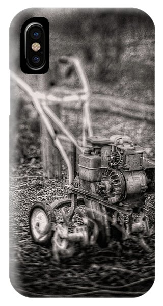 Farm Tool iPhone Case - Vintage Garden Rototiller Near Split Rail Fence In Black And Whi by YoPedro