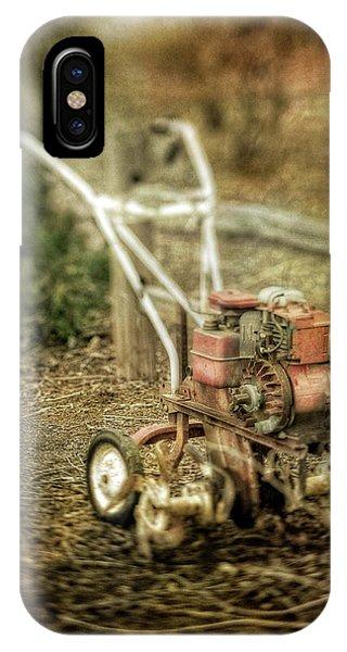 Farm Tool iPhone Case - Vintage Garden Rototiller Near Split Rail Fence by YoPedro