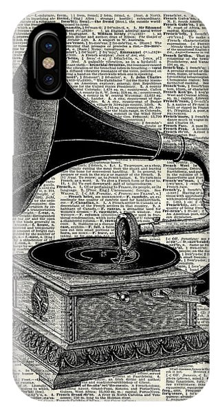 Mixed-media iPhone Case - Vintage Gramophone by Anna W