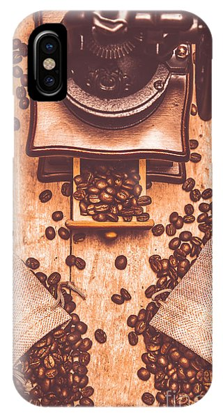 Cafe iPhone Case - Vintage Grinder With Sacks Of Coffee Beans by Jorgo Photography - Wall Art Gallery