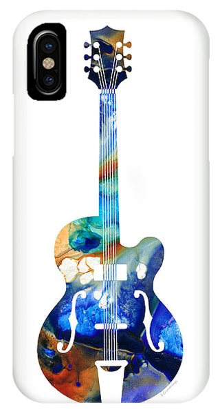 Music iPhone Case - Vintage Guitar - Colorful Abstract Musical Instrument by Sharon Cummings