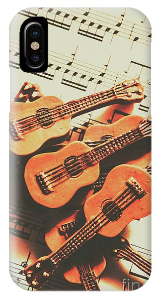 Strum iPhone Case - Vintage Guitars On Music Sheet by Jorgo Photography - Wall Art Gallery