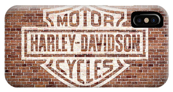 Harley iPhone Case - Vintage Harley Davidson Logo Painted On Old Brick Wall by Design Turnpike