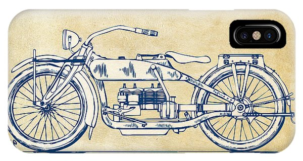 Harley iPhone Case - Vintage Harley-davidson Motorcycle 1919 Patent Artwork by Nikki Smith