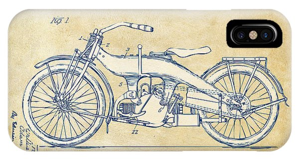 Patent Office iPhone Case - Vintage Harley-davidson Motorcycle 1924 Patent Artwork by Nikki Smith